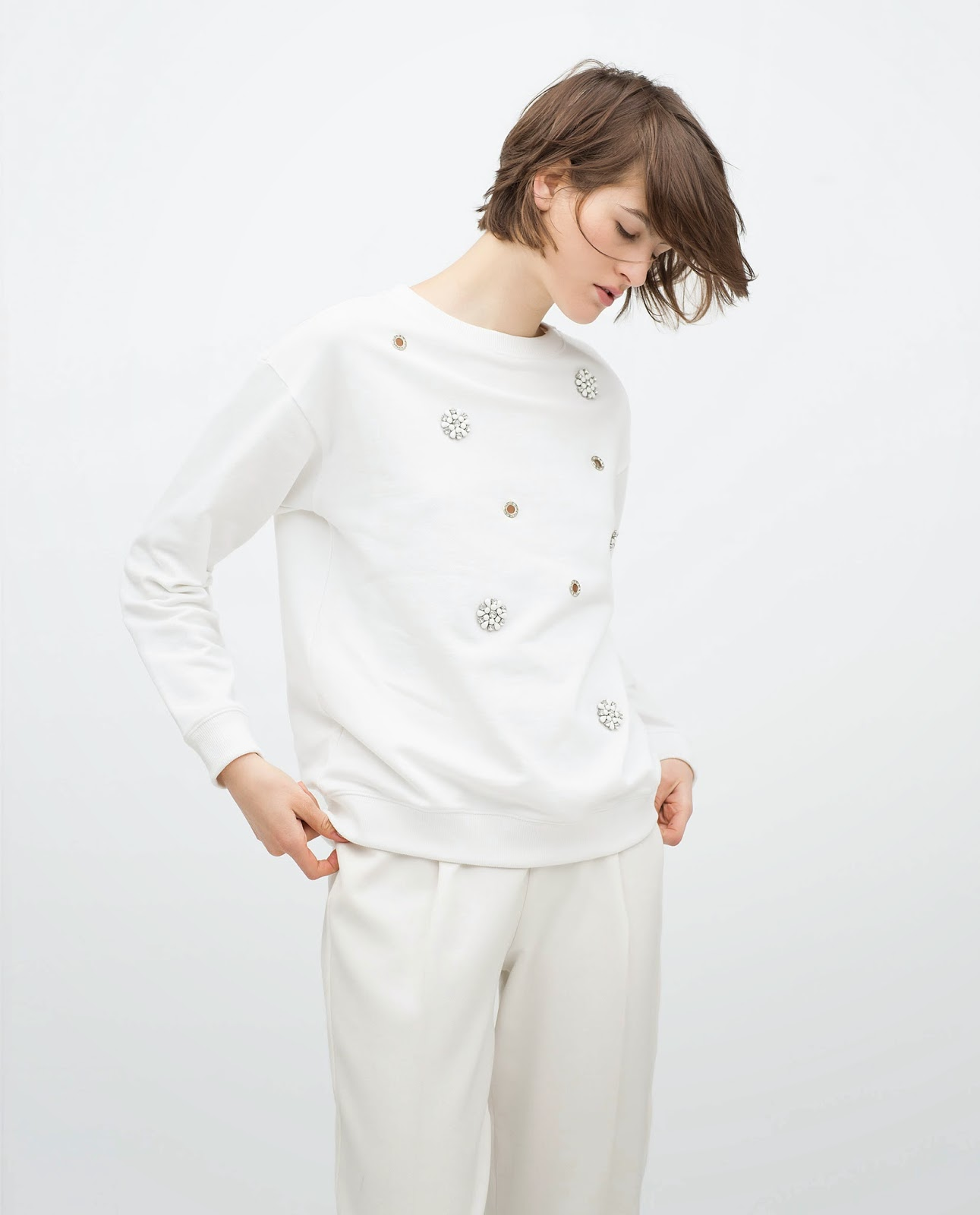 zara white jumper, zara white embellished jumper,