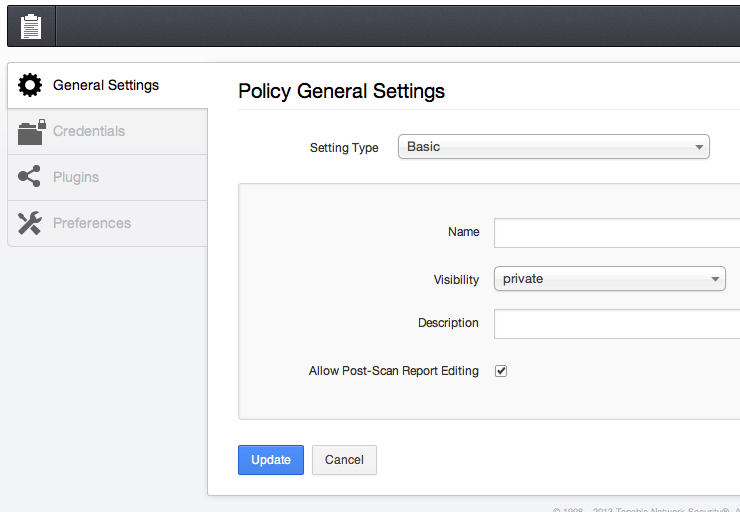 click on new policy button