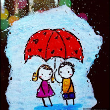 couple, raining, umbrella, drawing, art