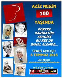 """MİZAHHABER'İN DÜZENLEDİĞİ """"AZİZ NESİN 100 YAŞINDA"""" PORTRE KARİKATÜR SERGİSİ ARTIK SANAL ALEMDE..."""
