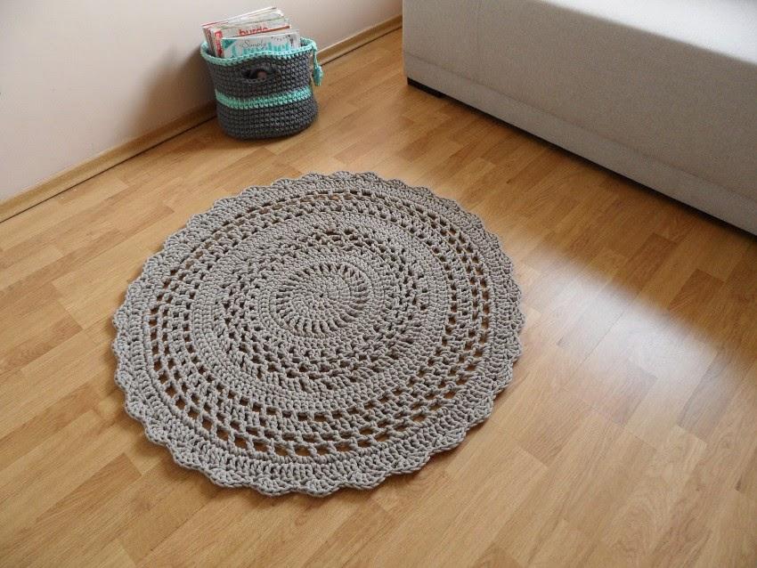 dywanik ze sznurka na szydełku