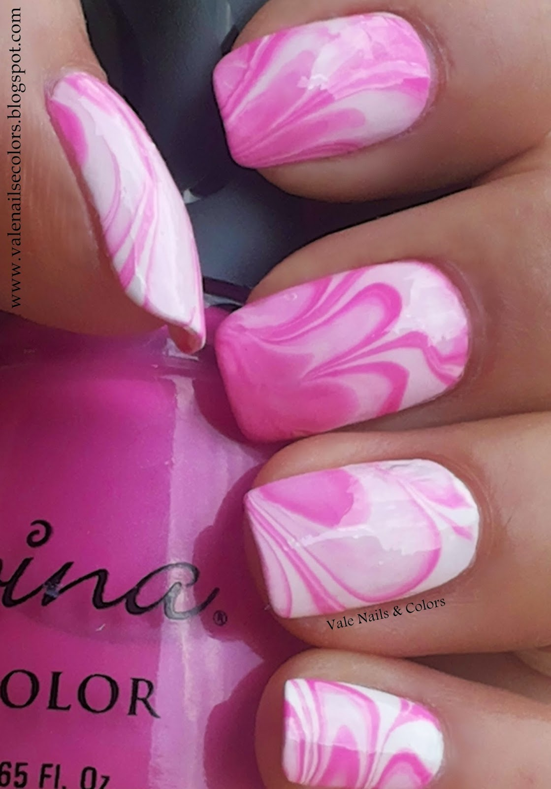 pink & white water marble