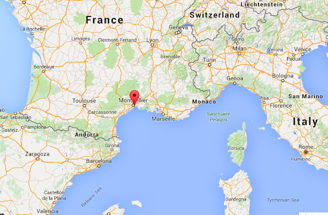 Map of Montpellier in France