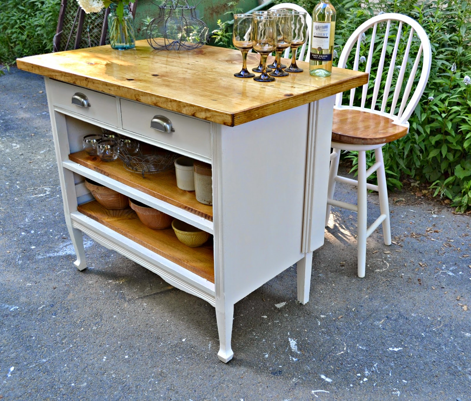 Heir And Space: Antique Dresser Turned Cottage Kitchen Island