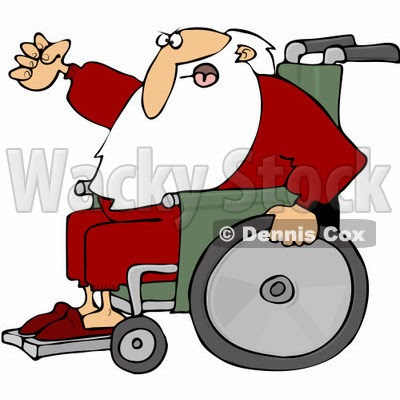 Color illustration of Santa Claus in a wheelchair, looking angry and shaking his fist