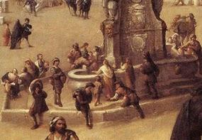 gran fuente de piedra con escudos y alrededor aguadores mujeres con sus cntaros y nios