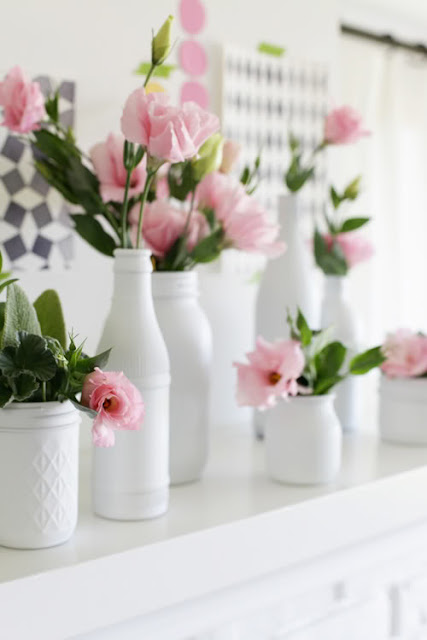 spray painted bottle vases diy