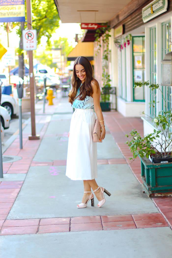 asos white gold button detail midi skirt, carlo pazolini pumps, asos bag