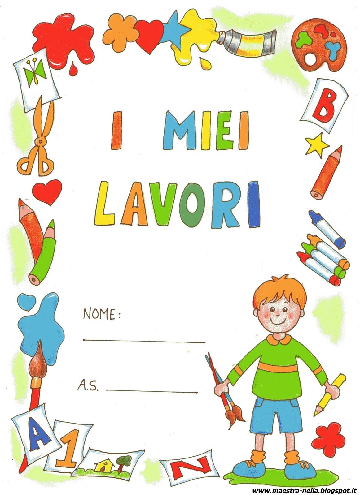 Maestra nella copertine colorate 39 i miei lavori 39 bambino for Maestra infanzia
