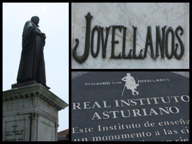 Escultura Monumento a Jovellanos, inscripción sobre la escultura y placa de señalización en el pavimento del itinerario Paseando con Jovellanos en Gijon