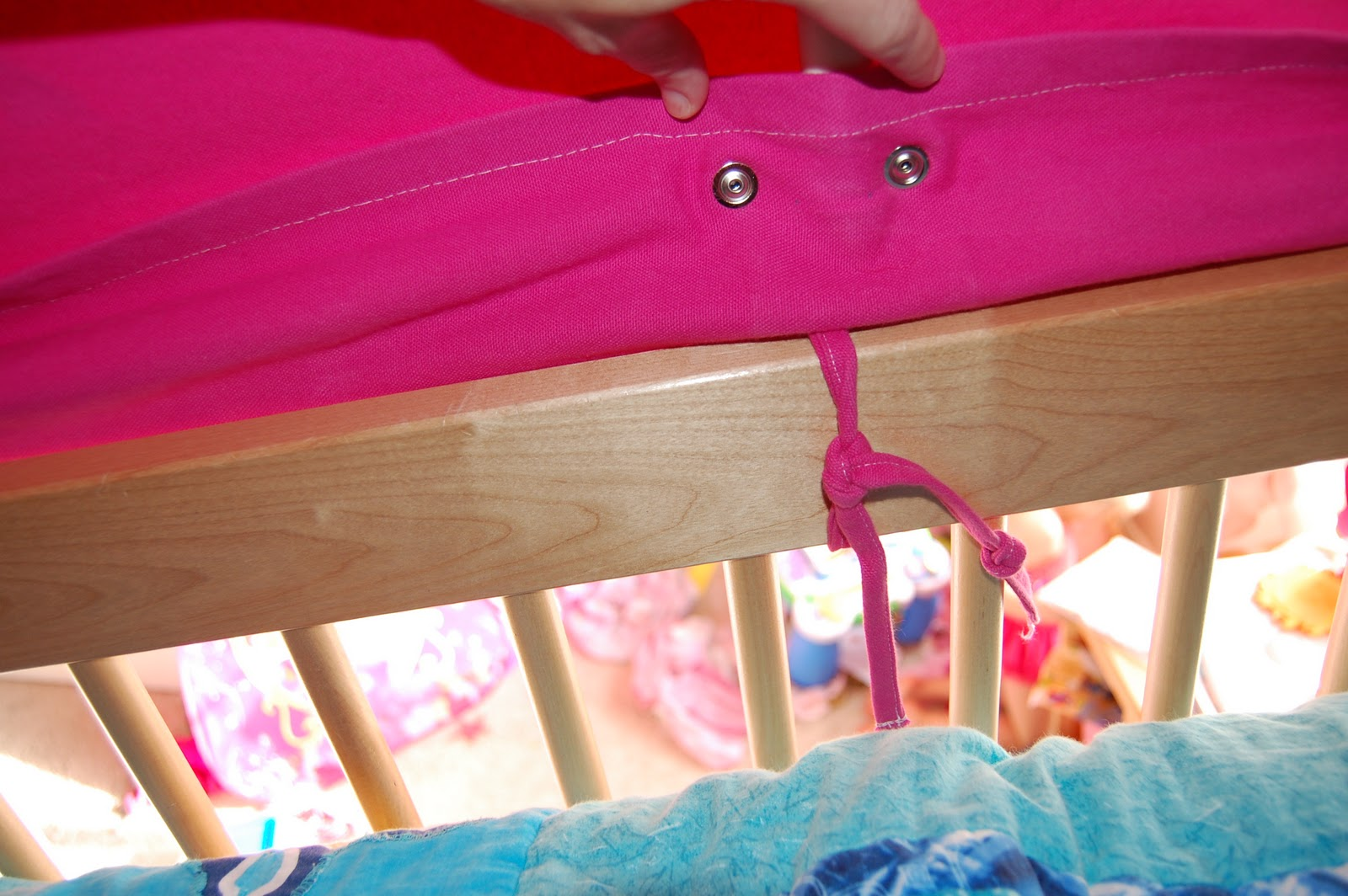 We attached the fabric to the PVC pipe with heavy-duty snaps. We also reinforced the fabric where we attached the snaps with pellon (fusible interfacing ... & Everyoneu0027s Excited and Confused: Pictures of the Top Bunk Bed Tent ...