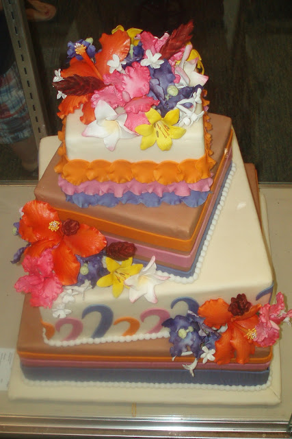 Colorful flowers on Square Cake