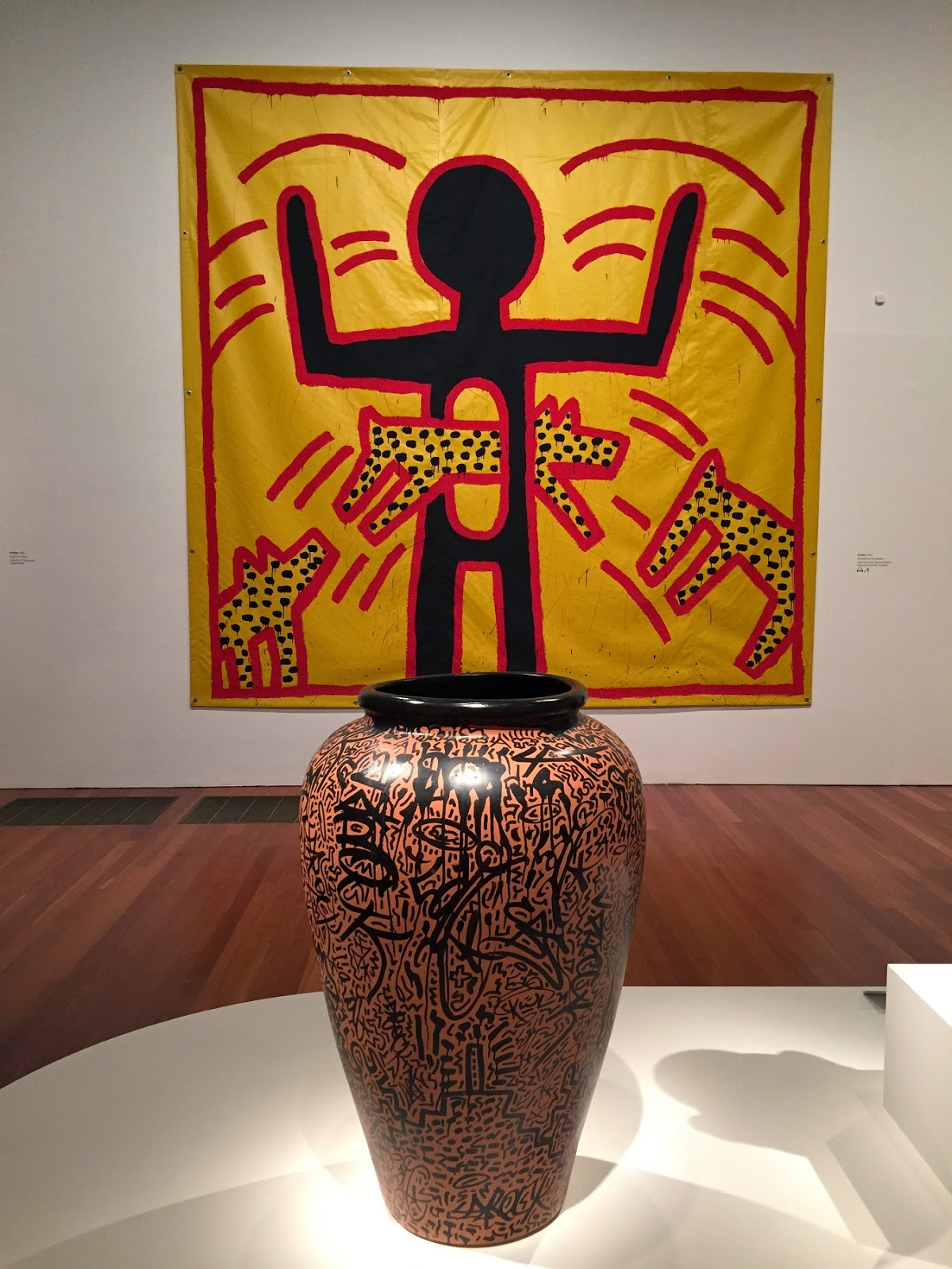 Oh by the way keith haring at the de young as i mentioned there is something wonderfully hieroglyphic and primitive about harings lines and he put them on some large vaseswhich feels ethnic and reviewsmspy