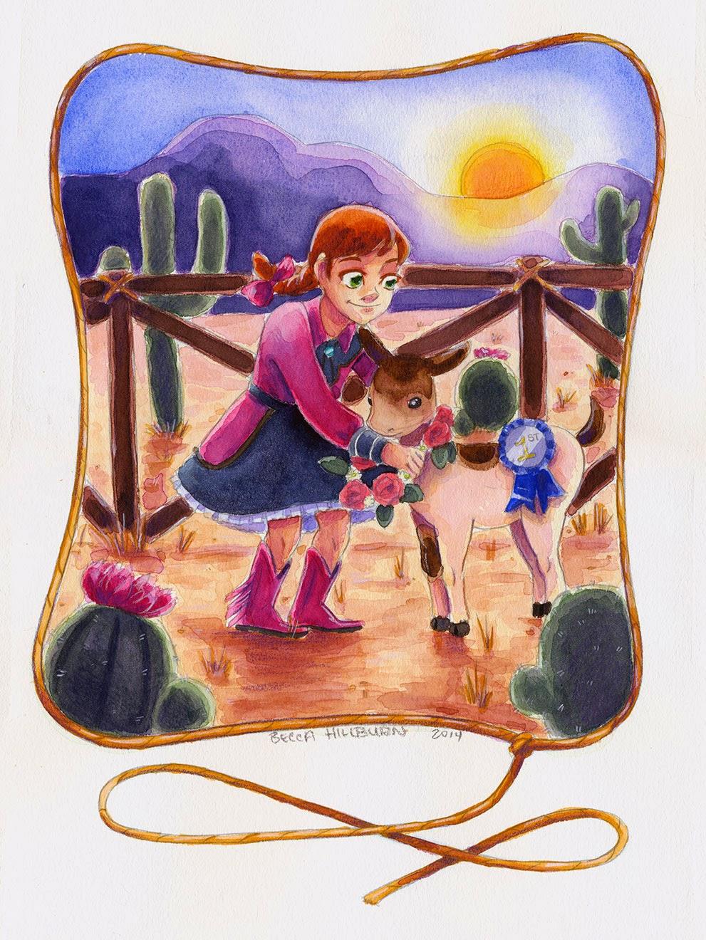 watercolor, sunset, desert, goat, cowgirl, western wear, little girl, Nattosoup Studio