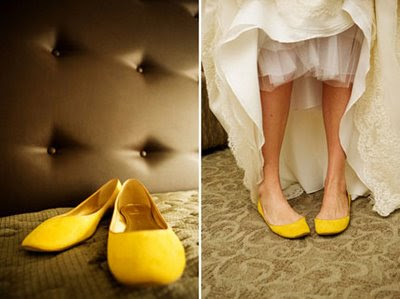 yellow shoes bride wedding dress sm