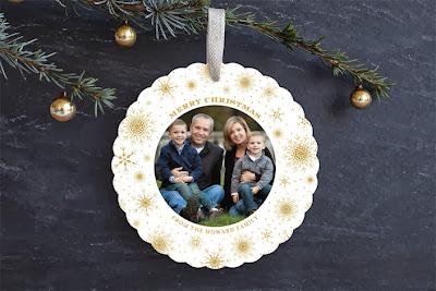 holiday card, ornament card, minted, snow, gold