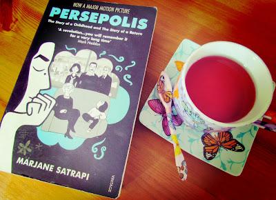 Persepolis, Marjane Satrapi, book cover, cup of tea, pretty, cuppa, read, Islam, Iran, graphic novel