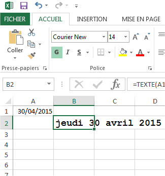 capture d'écran Excel