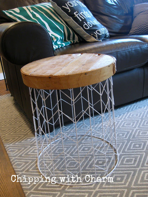 Chipping with Charm: Family Room Redo, Metal Basket to End Table...www.chippingwithcharm.blogspot.com