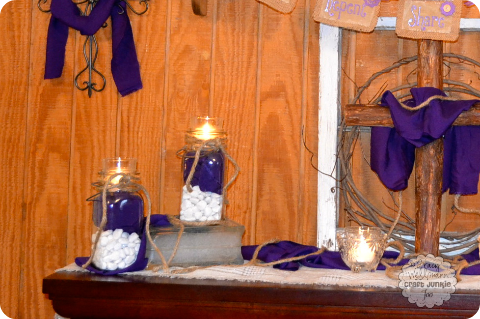 Lenten mantel 2013 country charm by tracy for Catholic decorations home