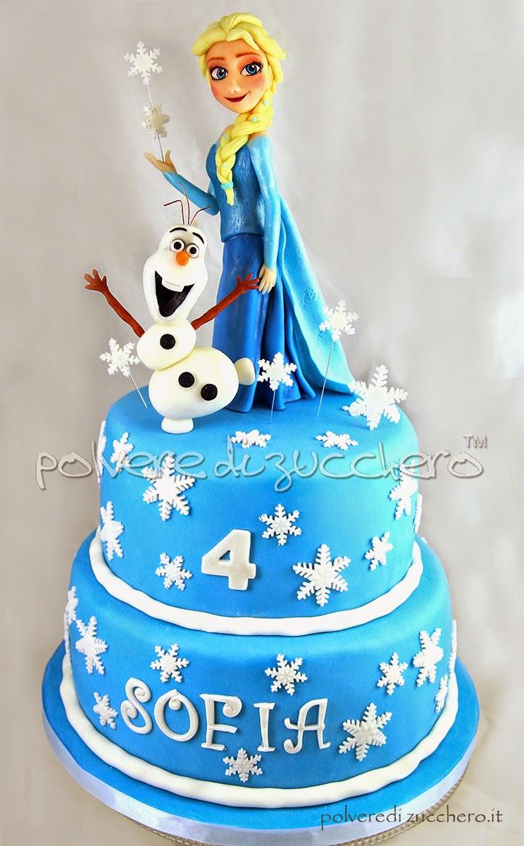 frozen elsa disney pasta di zucchero torta decorata cake design polvere di zucchero