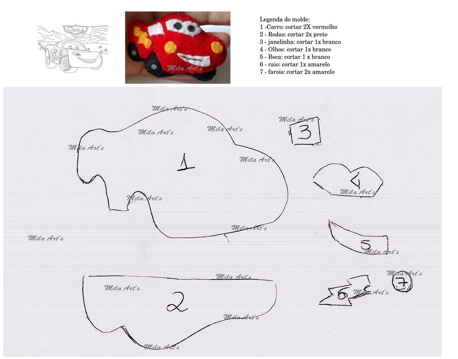 moldes e PAP: Molde Carros - Relampago Macqueen - chaveiro de feltro