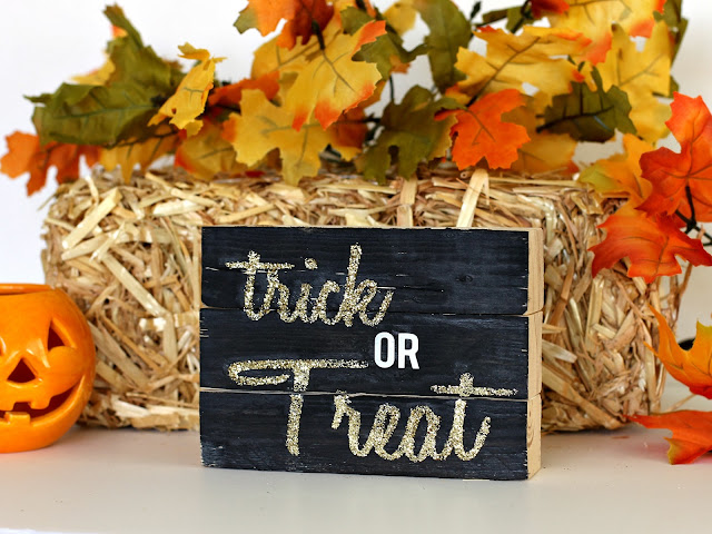 Four sided Wood block sign, Trick or Treat by CleverNestShop on Etsy #rusticwoodsign #woodblocksign #blockdeskdecoration