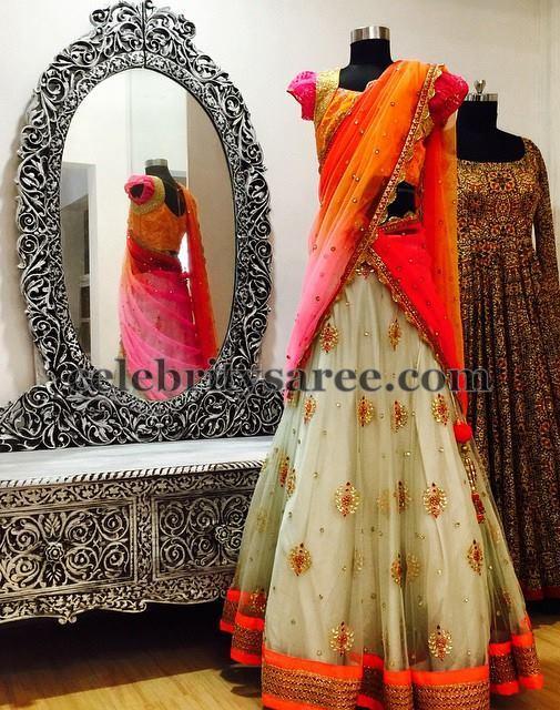 Cream and Orange Half Sari by Bhargavi