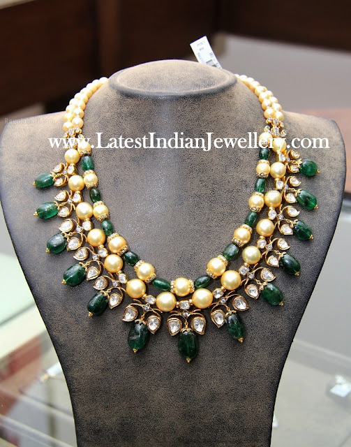 Emerald Pearl Necklace with Uncuts