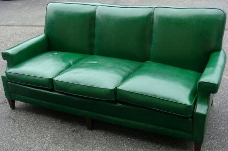 Charming Vintage Green Vinyl Sofa W/ Nailheads!!! Dimensions : 79 Inches Length / 3  Ft Depth / 24 Inches Seat Depth