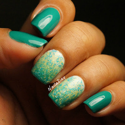 NailaDay: Sinful Colors Rise and Shine gradient with Sally Hansen Fuzz-Sea
