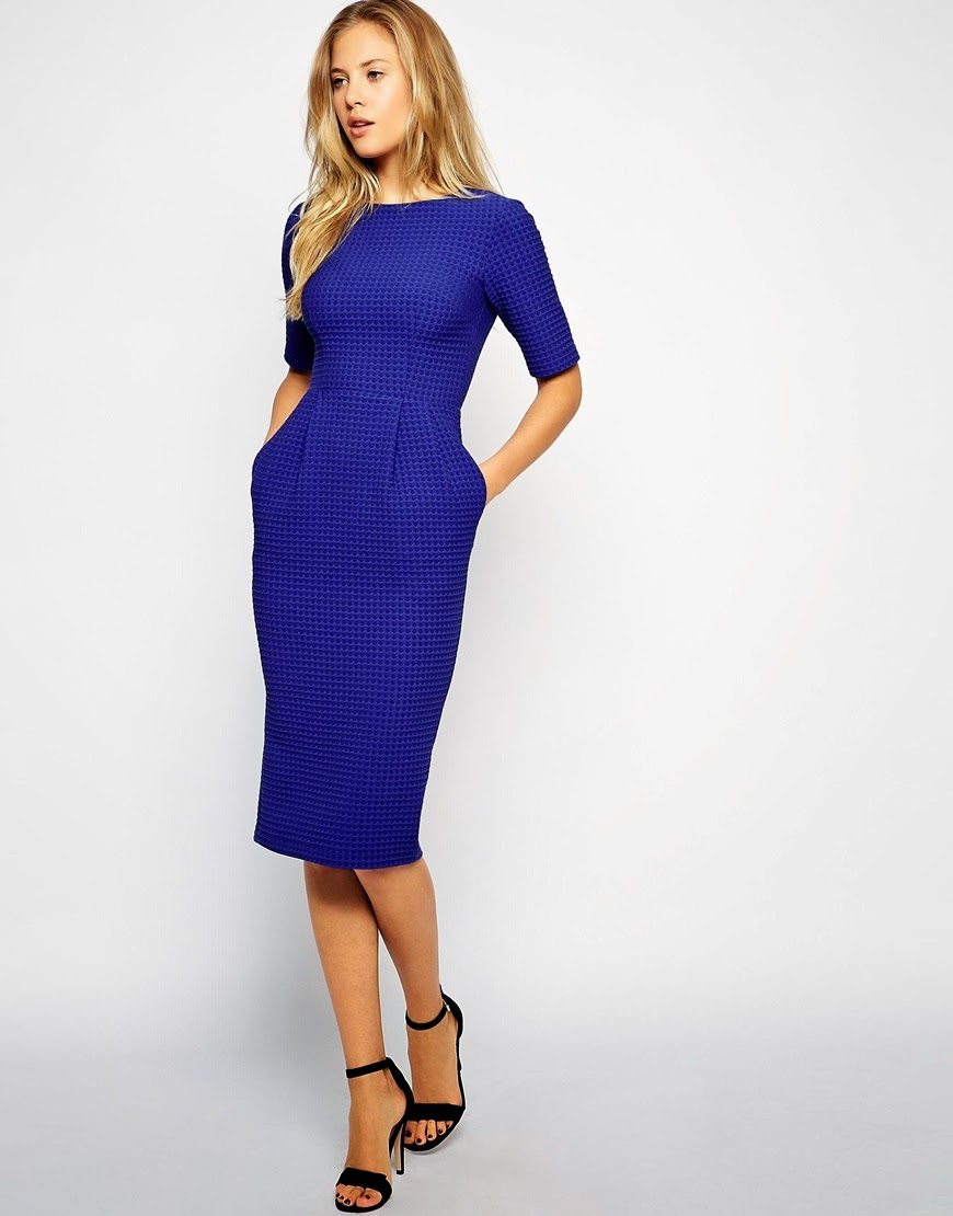blue midi dress with pockets