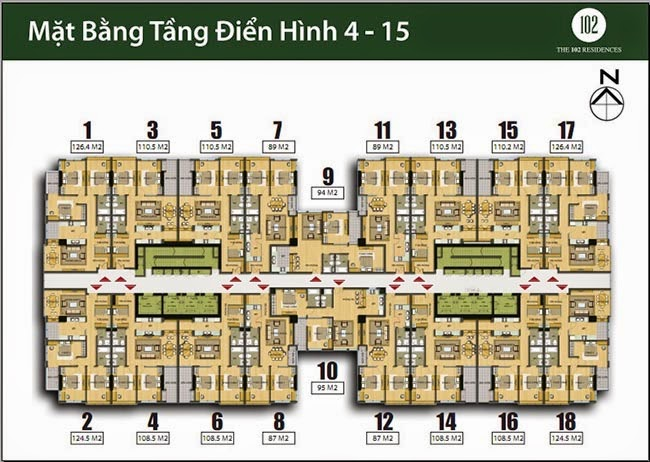 Mặt bằng căn hộ tầng 4 - 15