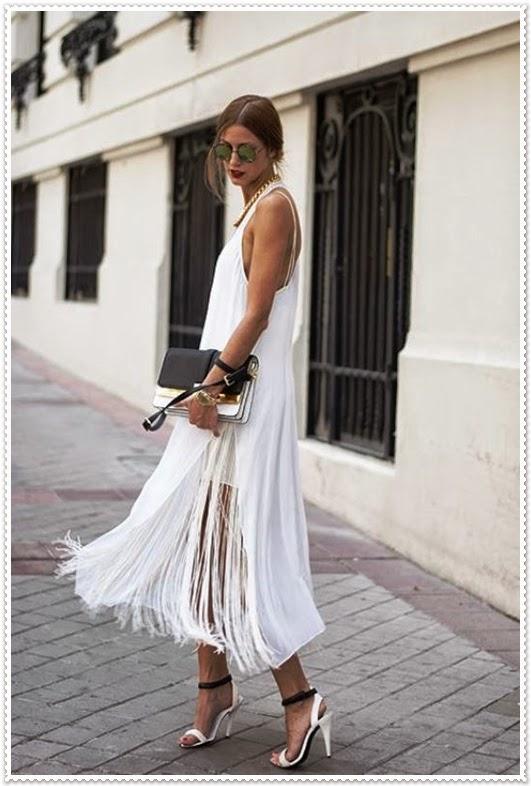 Elegante weiße Kombination in Frühjahrs Mode 2015