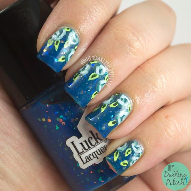 nails, nail art, nail polish, polish, indie, indie polish, blue, roses, hey darling polish, the never ending pile challenge,