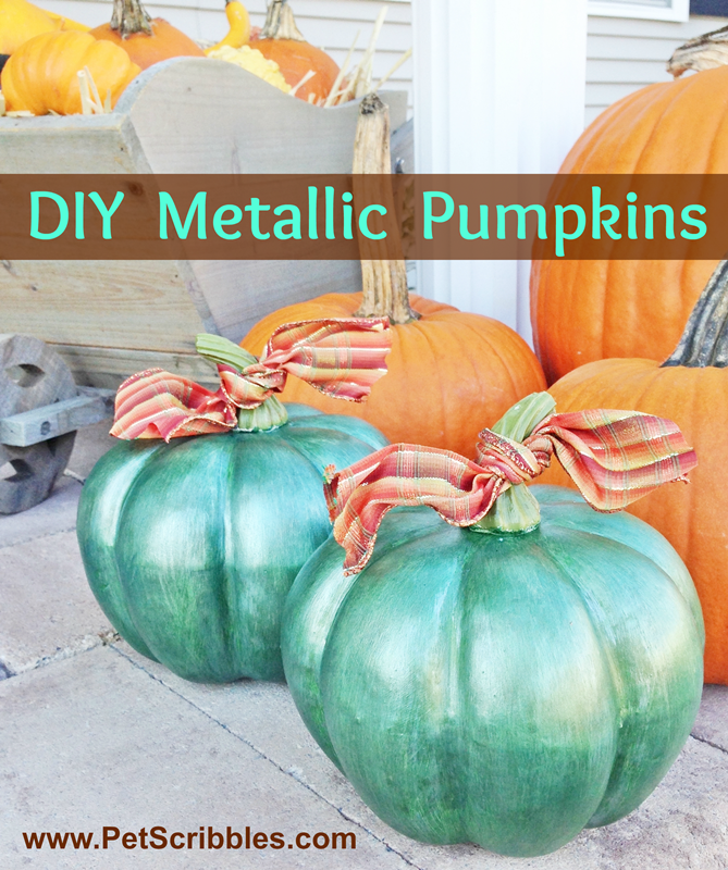 Fall Decor: DIY Metallic Pumpkins, created by layering a few metallic paints, nothing fancy, to achieve an almost mercury glass look! So pretty!
