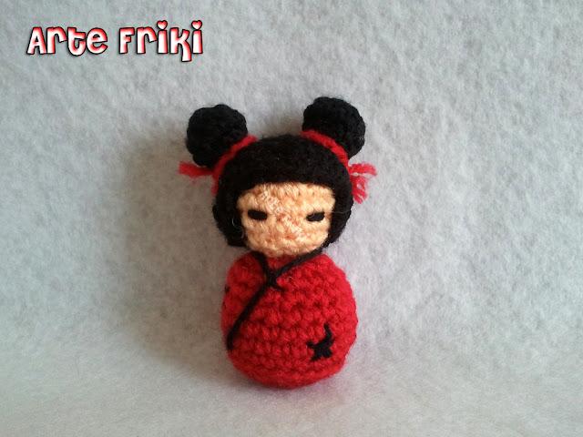 kokeshi amigurumi japonesa crochet ganchillo peluche plush heart corazón