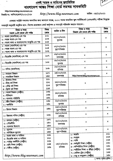 Br6th SSC examination routine 2012 Bangladesh