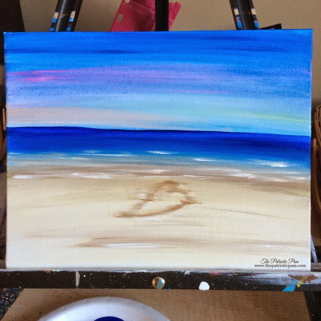 painting, acrylic painting, beach, ocean, sand, water, heart