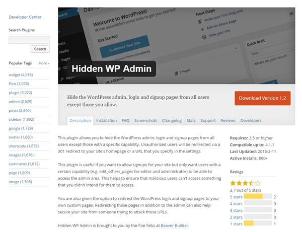 Hidden WP Admin