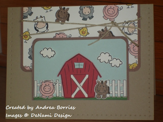 Card with farm animals. Background panel is stamped with cows, horses, pigs, sheep and chicks. The focal layer scene has red barn, white fence, horse, pig and clouds.
