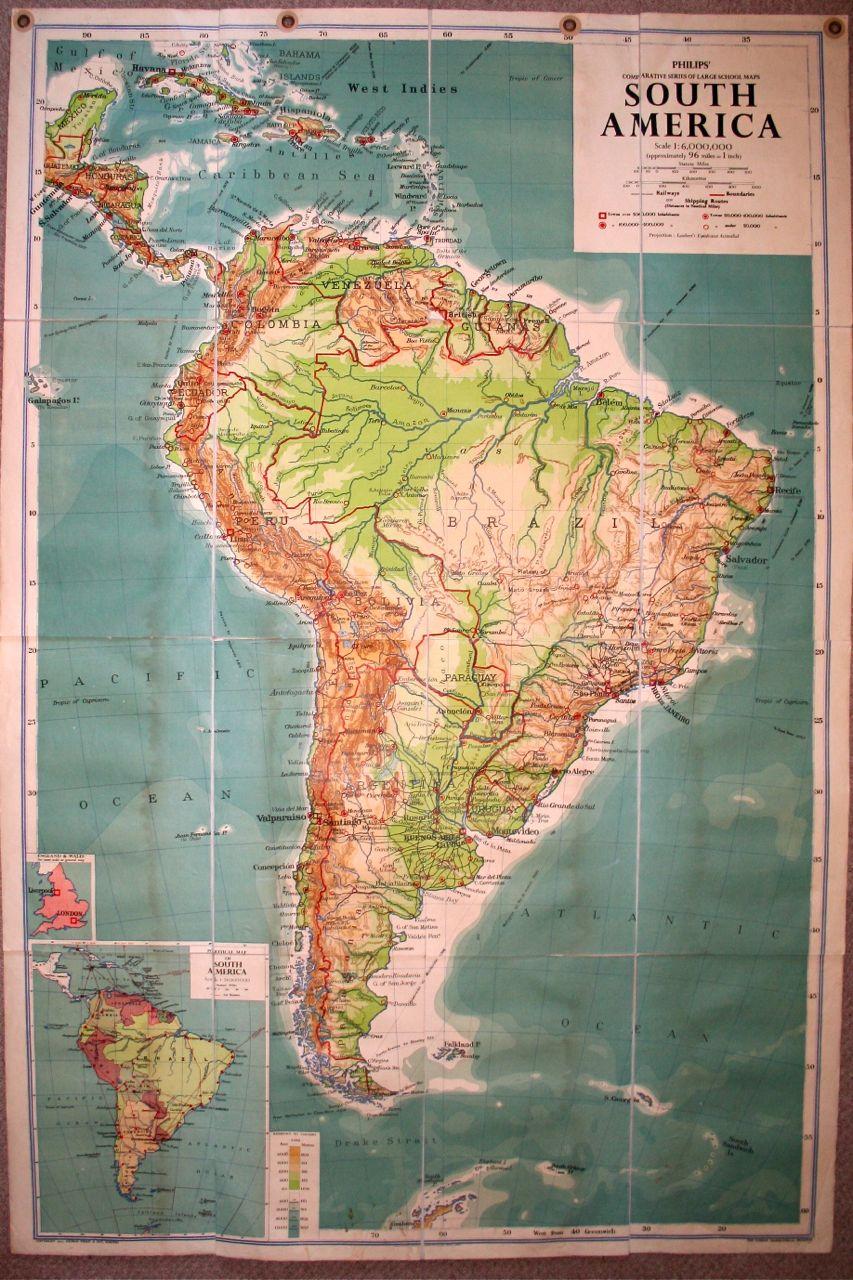 Vintage school maps no 5 south america vintage school maps gumiabroncs Images