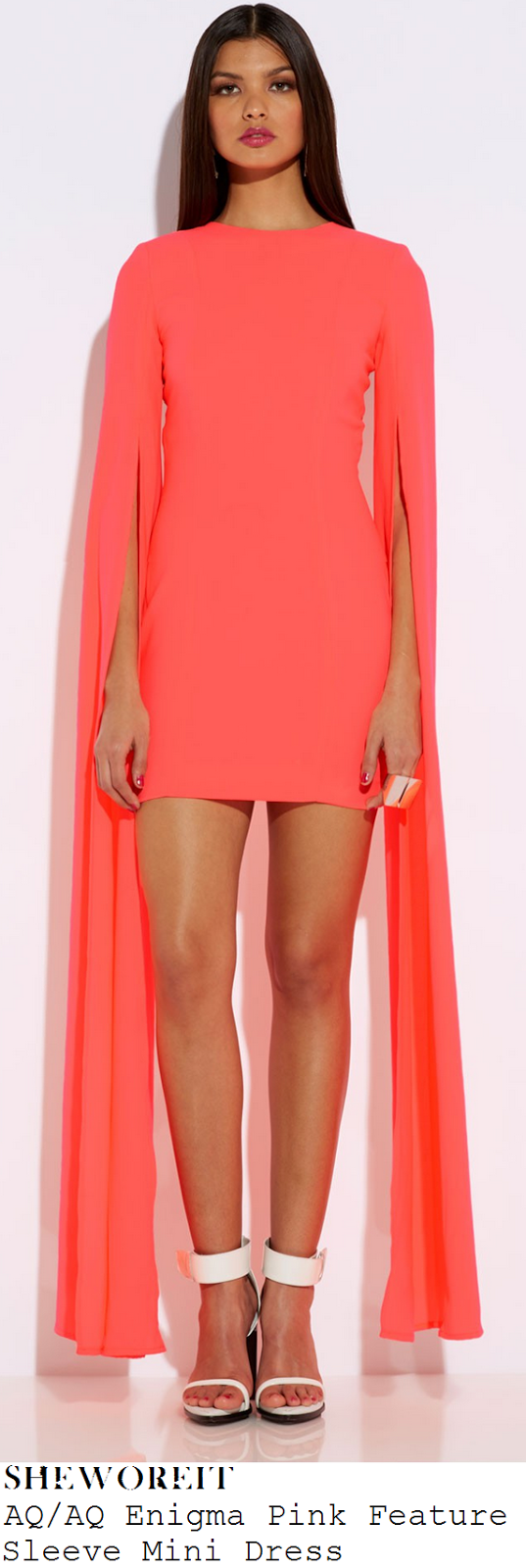 sam-faiers-neon-coral-pink-orange-shift-mini-dress-with-long-maxi-semi-sheer-split-sleeve-detail-celebrity-big-brother