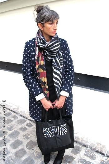 Foulard laine graphique ocre Mii Embrassade