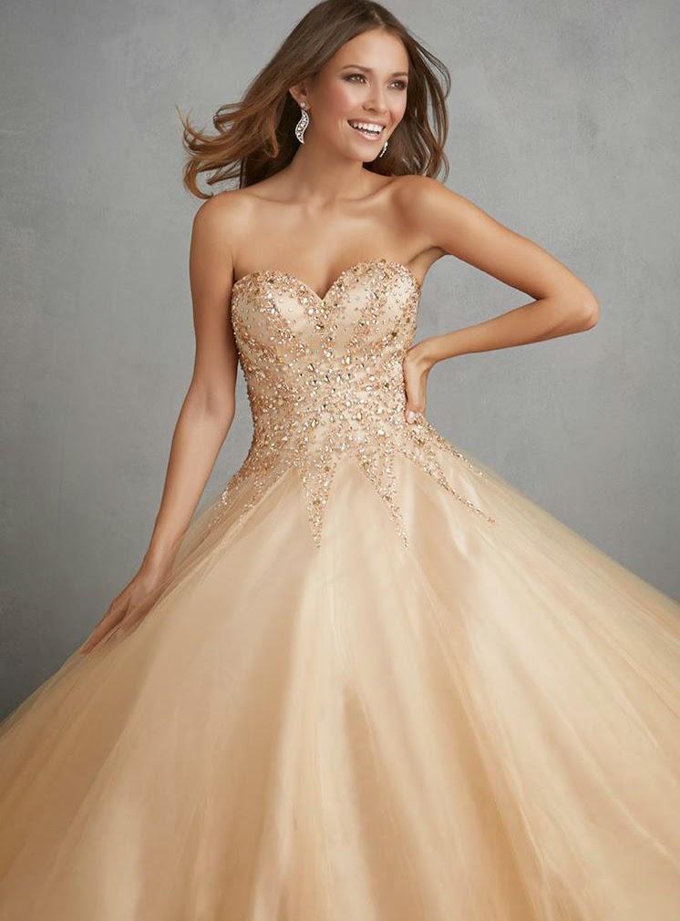 Adorable Princess Long Embellished Beaded Tulle Strpless Sweetheart Wedding Dresses