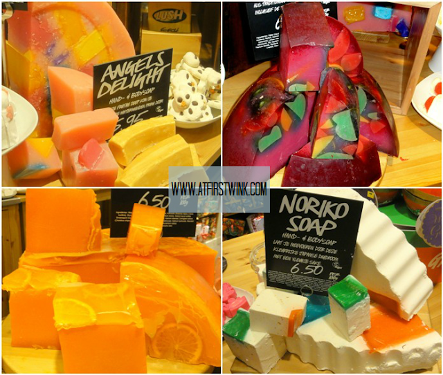 LUSH angels delight, mr. punch soap, orange jelly, and noriko soap