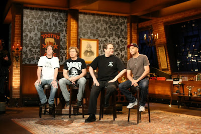 That Metal Show hosts Eddie Trunk, Don Jamieson and Jim Florentine with host Tom Morello.