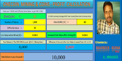 OneCoin Mining and Coins Profit Calculation Software
