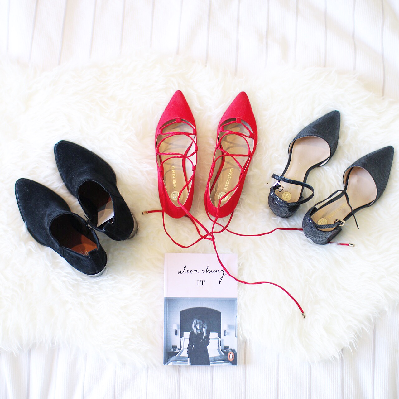 three pairs of shoes lined up for an Instagram picture