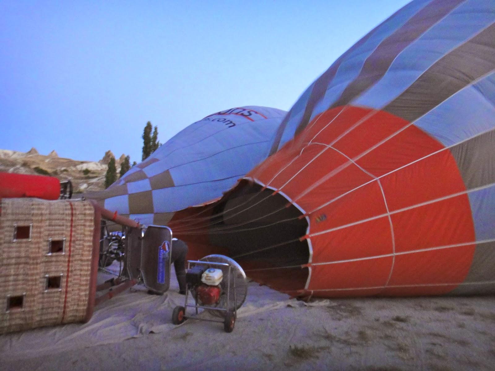 Preparation for hot air balloon trip at Cappadocia Turkey